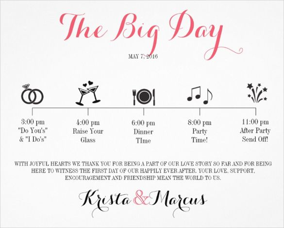 Wedding Itinerary Template Free Word PDF Documents Download - Day of wedding timeline template free