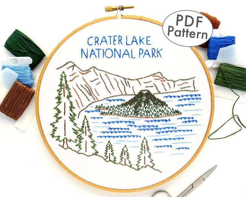 Crater Lake National Park Hand Embroidery Pattern, PDF Embroidery Design, National Park Hoop Art, Oregon Travel Embroidery