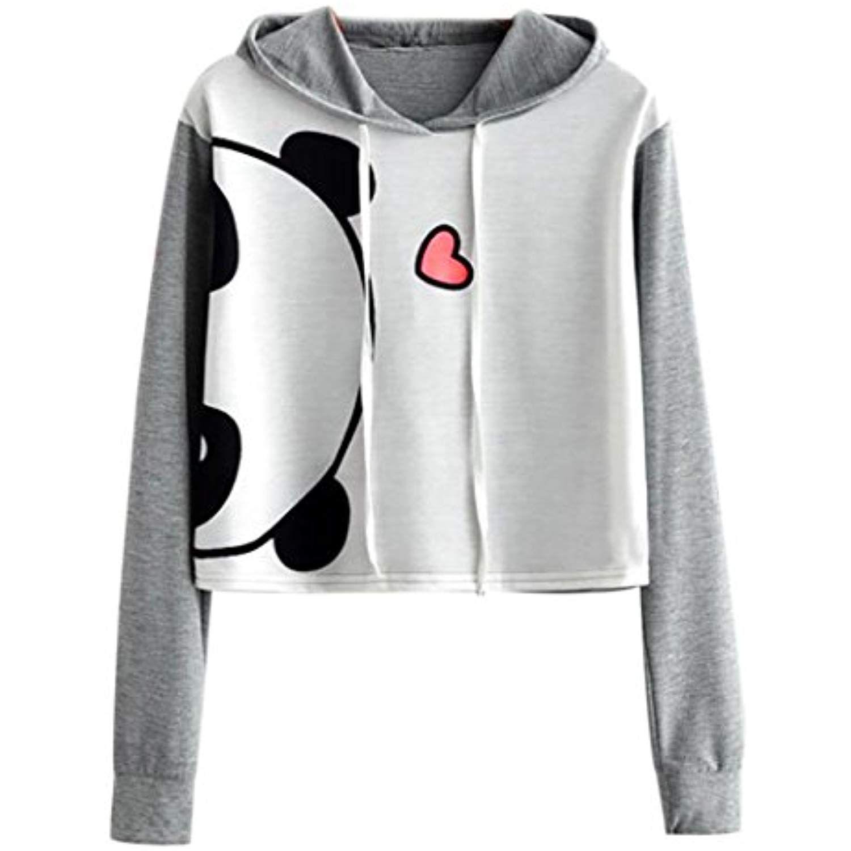 baa60893d2f Women Hoodies, Shybuy Women Teen Girl Cute Panda Patchwork Pullover Fashion  Short Hoodies Crop Top Sweatshirt ** Visit the image link more details.