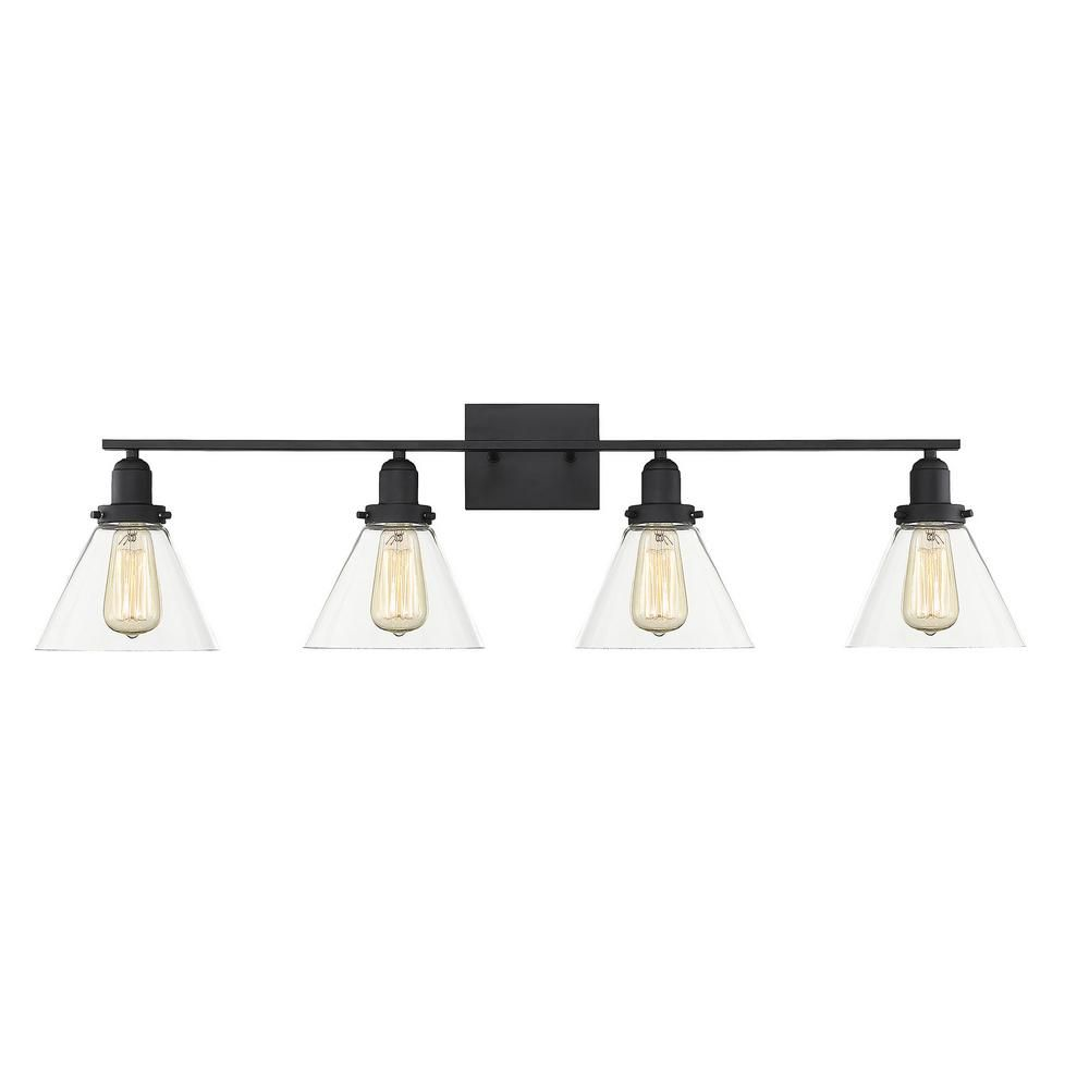 Photo of Filament Design 38 in. 4-Light Black Vanity Light with Clear Glass-CLI-SH278037 – The Home Depot