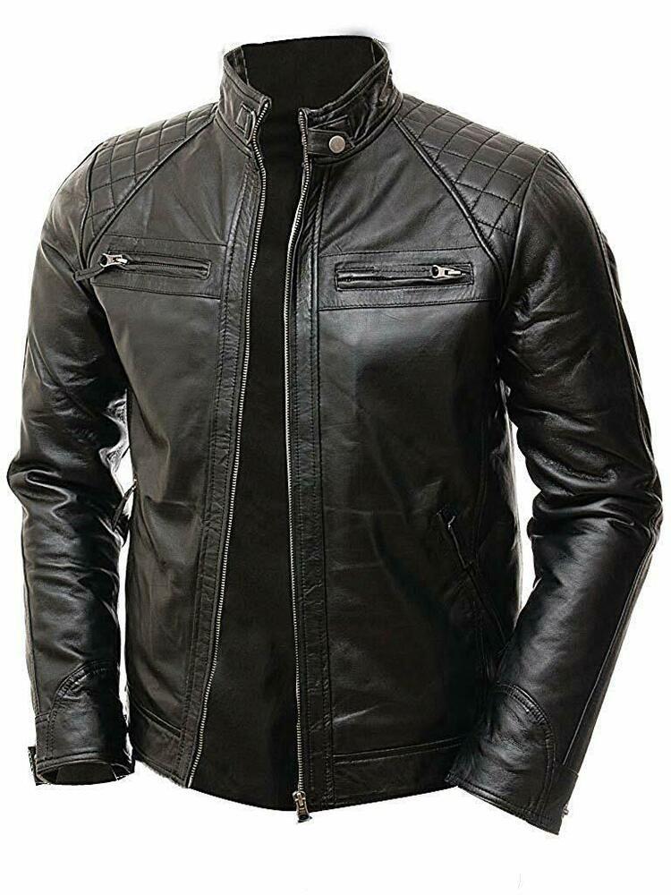 NUOVO Uomo Elegante Nero Biker Rider Jacket Slim Fit Retrò Moto Vintage Style
