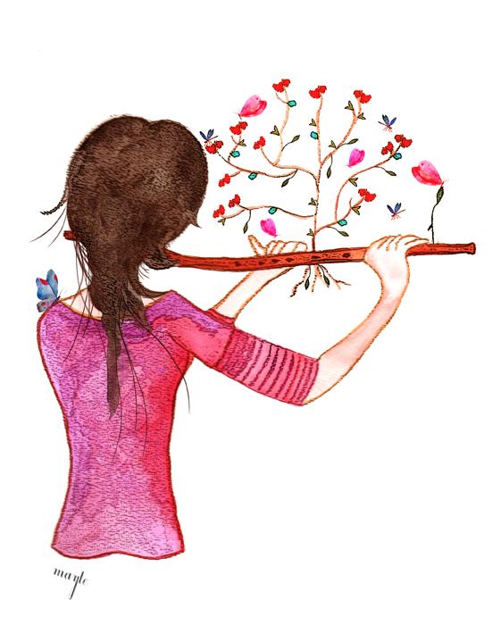 Primavera Flautistailustración En Acuarela Hecha Para