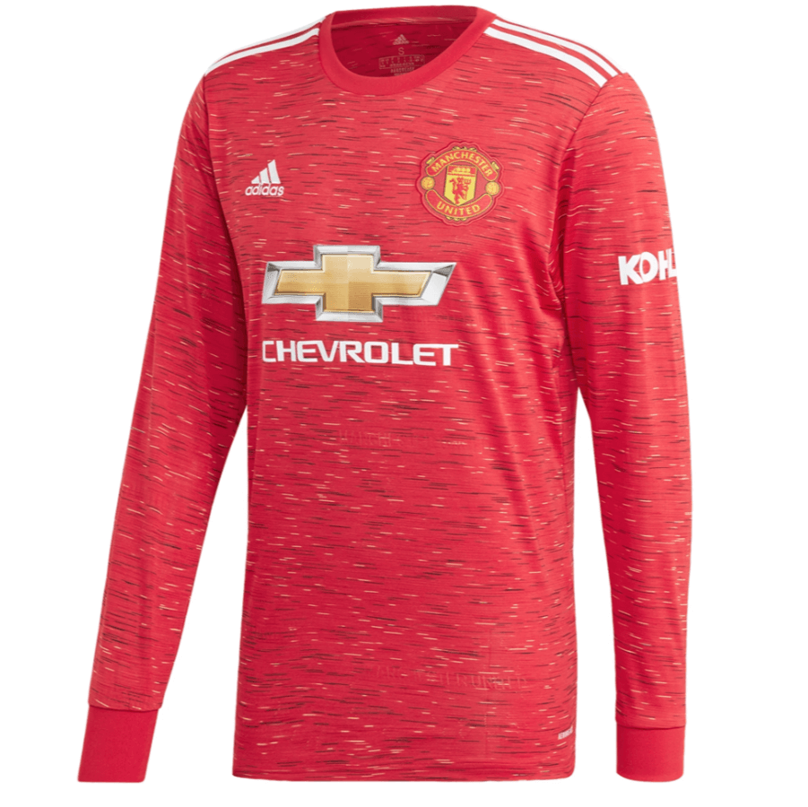 Manchester United 20 21 Home Long Sleeve Soccer Jersey Personalized Na Zorrojersey In 2020 Manchester United Manchester United Football Kit Long Sleeve Shirts