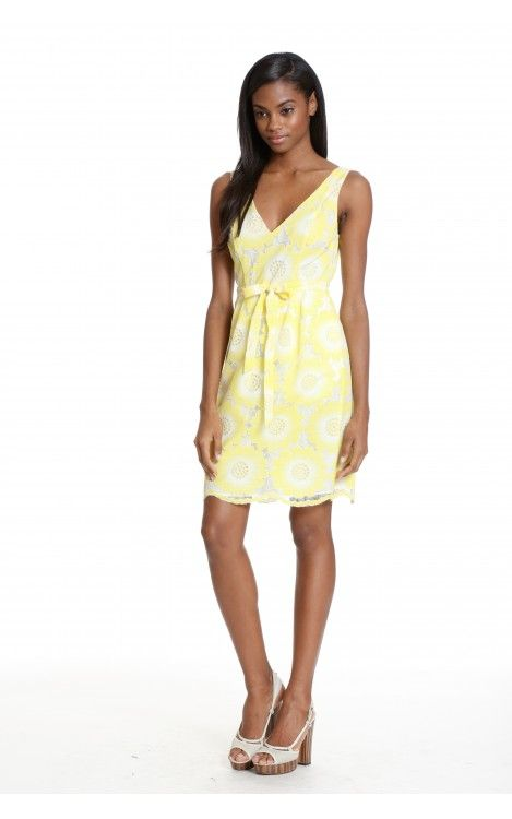 Thea by Tracy Reese - This sunflower yellow lace dress has a great fit and flare shape with a v back.