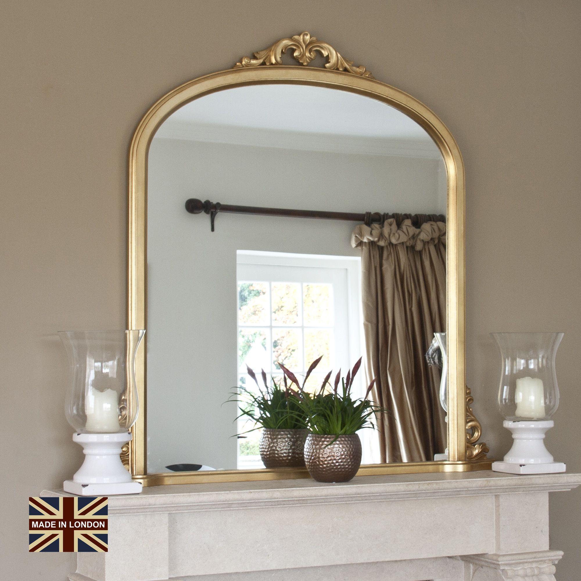 e230f59967d8c Large Plain Gold Overmantel Mirror