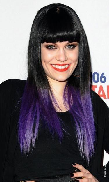 Purple dip dyed hair.