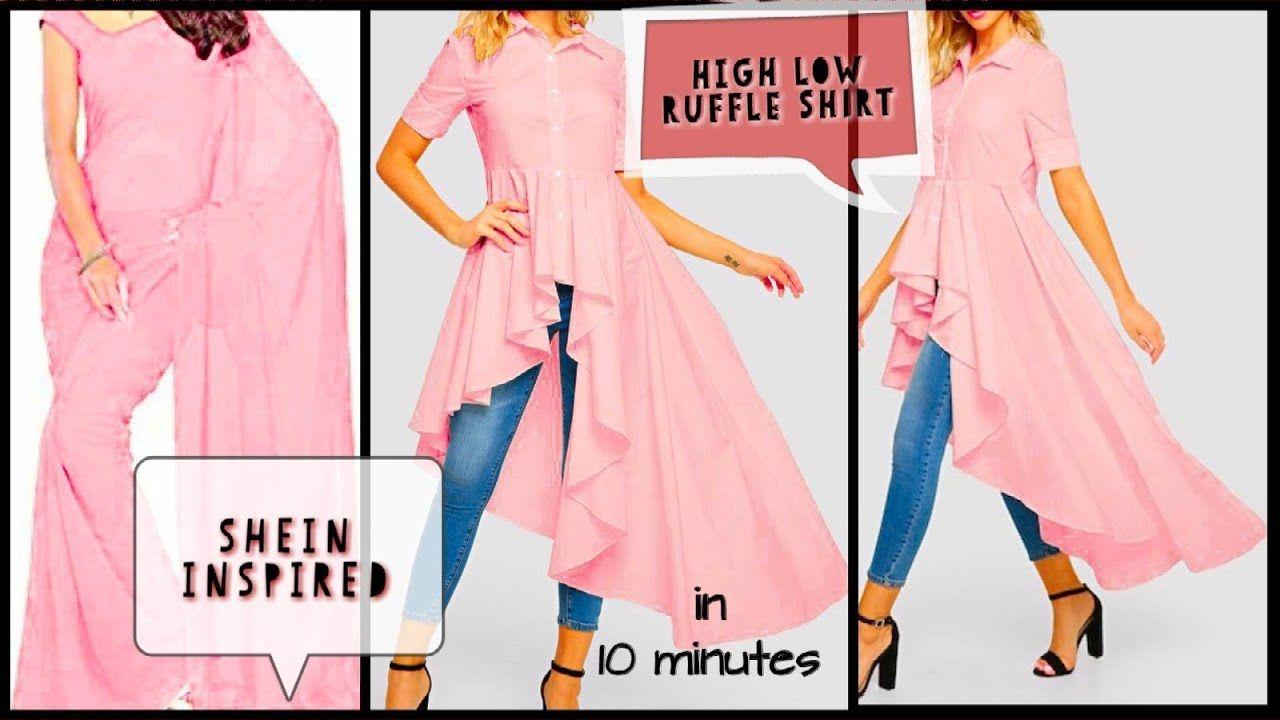Diy How To Make High Low Ruffle Shirt In Just 10 Minutes Youtube Dress Patterns Diy Shirt Dress Pattern High Low Blouse Pattern