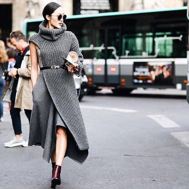 A fashion-forward sweater dress