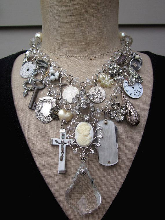 Bib Necklace Steampunk Necklace, Statement Bib Dreams of Paris Charm Necklace