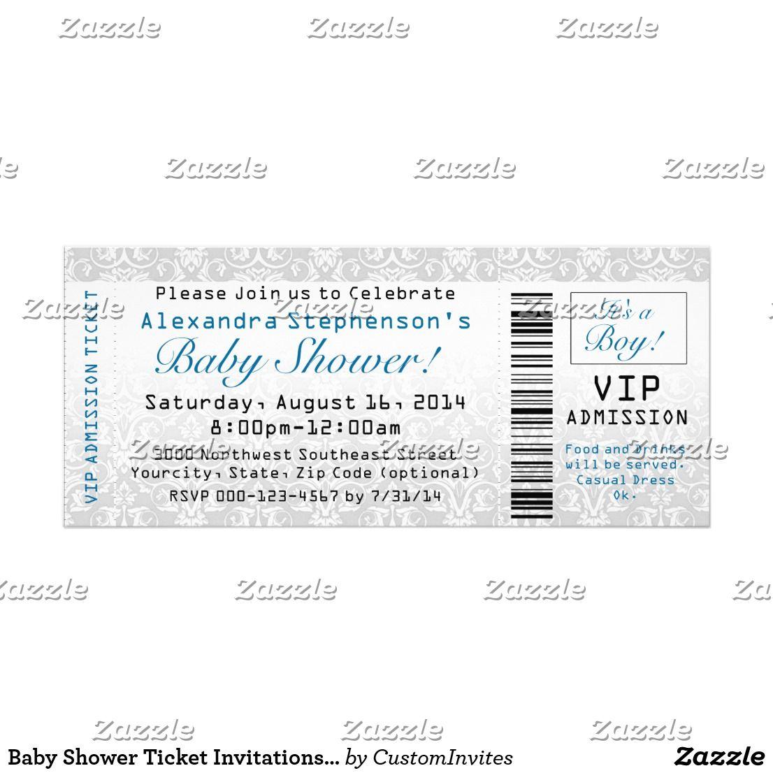 Baby Shower Ticket Invitations, Boy Card   Ticket invitation