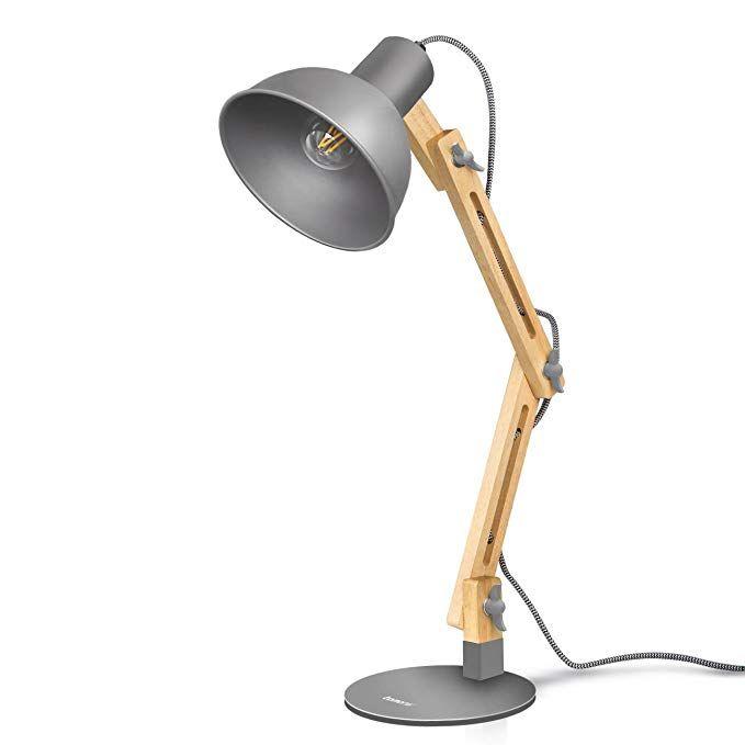 amazon: tomons swing arm led desk lamp, wood designer table lamp, reading lights for living