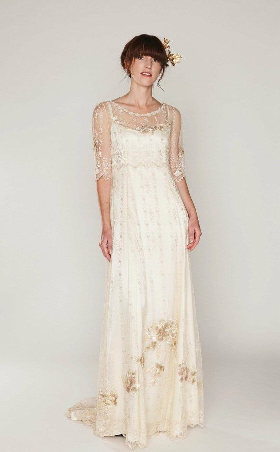 Boho Style Wedding Dress Of Embroidered Netting Over A Double Silk