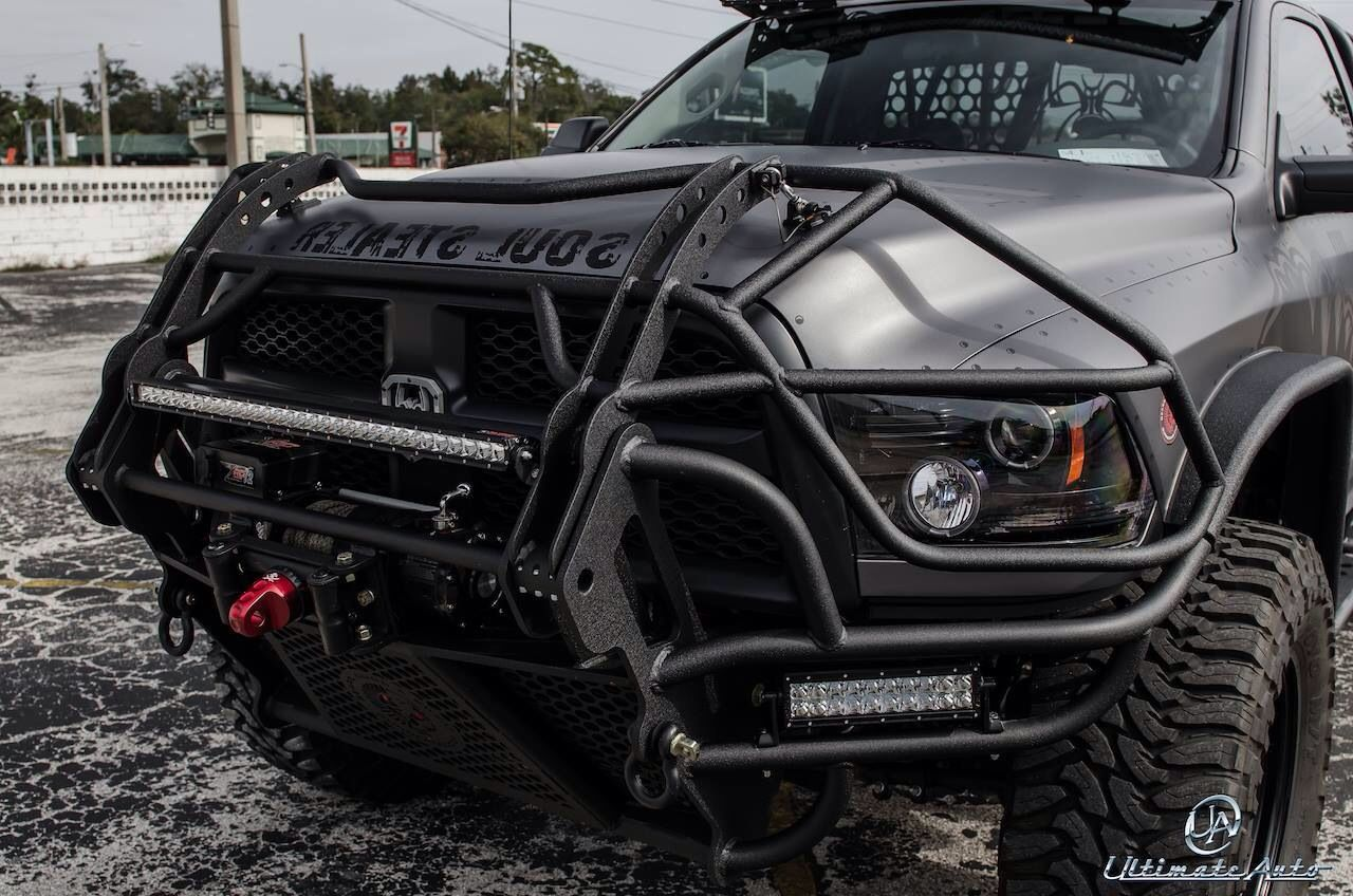 Dodge Ram with one seriously mean looking front bumper/ grill guard.