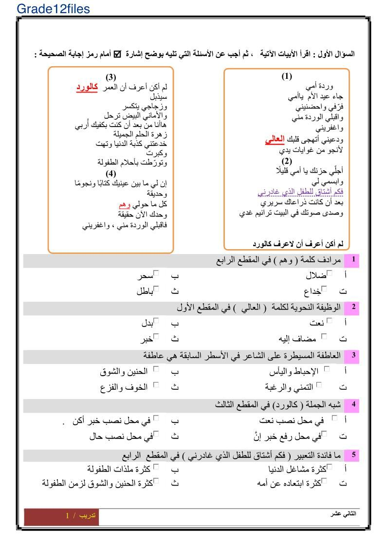 اللغة العربية ورقة عمل نموذج امتحان للصف الثاني عشر Bullet Journal Journal