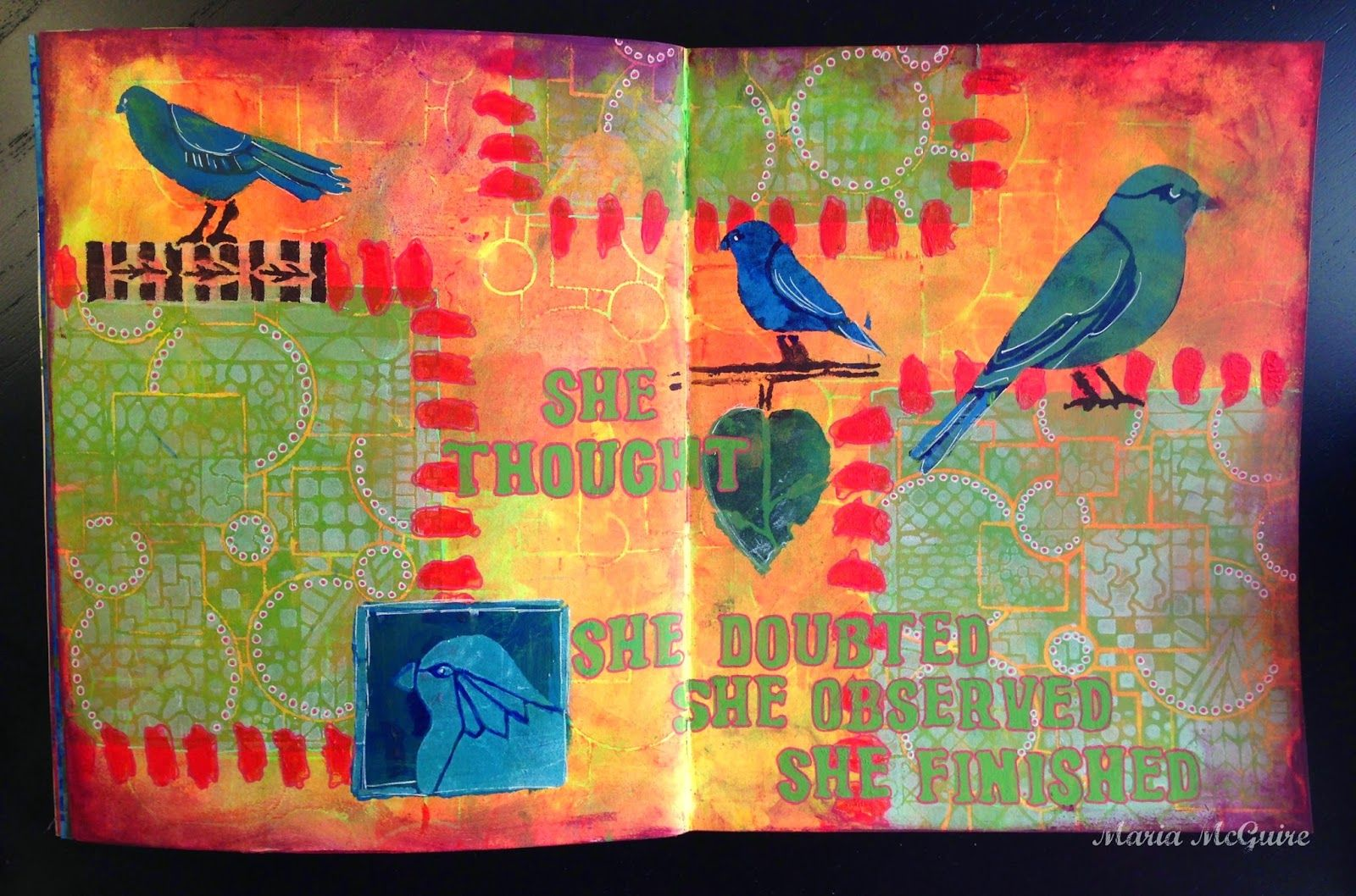 StencilGirl Talk: Art Journal Page with StencilGirl Stencils GALORE! by Maria; Jan 2015