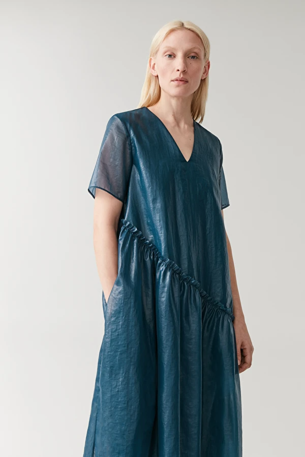 Tiered Dress Dark Turquoise Dresses Cos Us In 2020 Tiered Dress Staple Dress Dresses