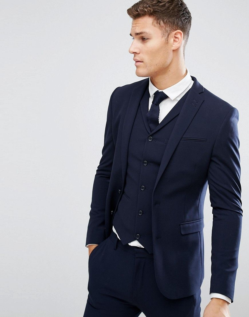 1a1f4ddbeb21 DESIGN super skinny fit suit jacket in navy in 2019 | Chad's Work ...