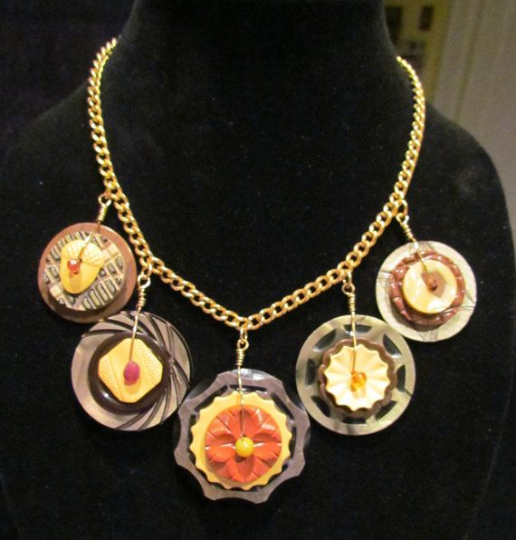 Vintage button necklace  stacked celluloid and by mathildasattic, $75.00