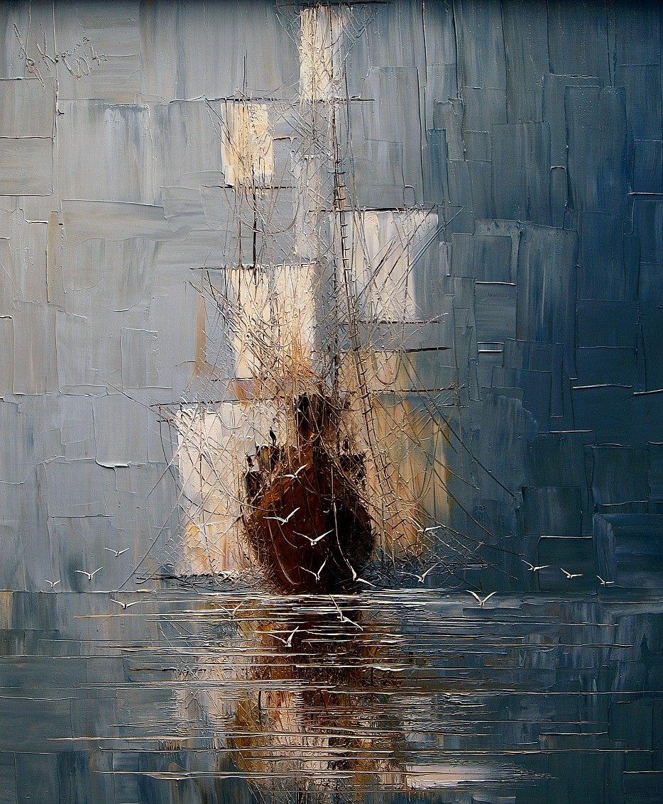 Des peintures de paysages marins au couteau paysage marin polonais et le peintre - Peinture qui cache les defauts ...