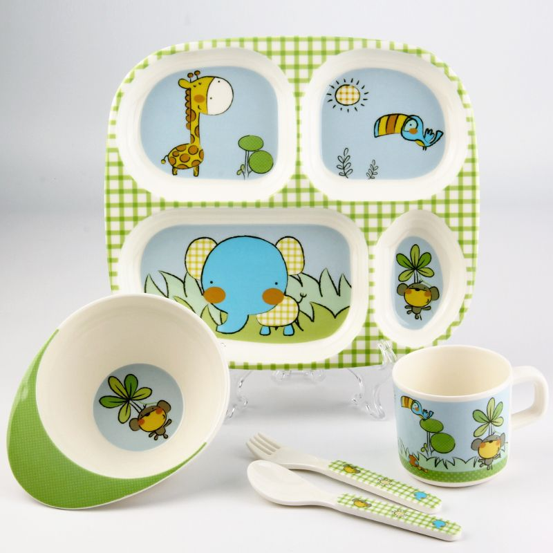 2016 Lovely Cartoon Melamine Children Kids Tableware Set Portable 5 Pcs Baby Feeding Bowl Dividing Baby  sc 1 st  Pinterest & 2016 Lovely Cartoon Melamine Children Kids Tableware Set Portable 5 ...