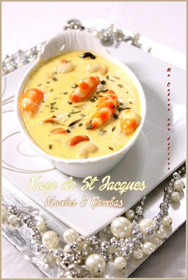 Nage de noix de St Jacques Moules et Gambas