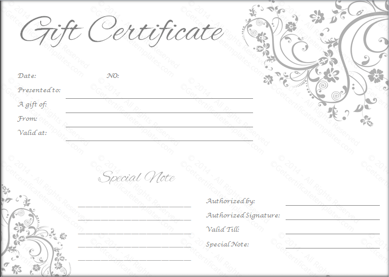 Free printable wedding gift certificate templates