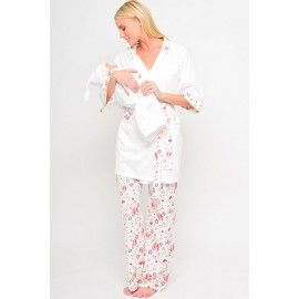 00198fa0f7af0 Cute Olian Maternity Hearts 4 Piece Nursing Pajama Set for $104.00. Comfy  matching set for you and your baby girl!