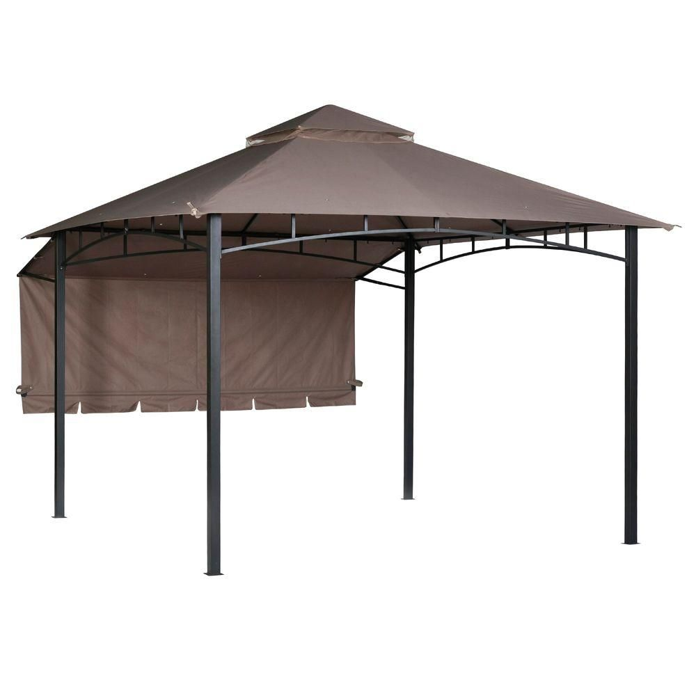 Hampton Bay 10 Ft X 10 Ft Brown Roof Style Garden House With Awning And Back Wall 5sgz14051010nn The Home Depot Brown Roofs Outdoor Remodel Roof Styles