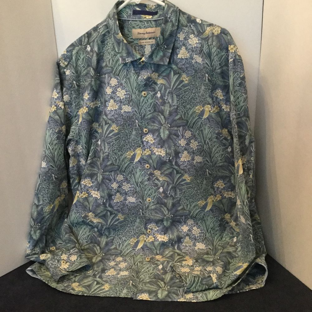 e710ac071a75 Tommy Bahama Men's Long Sleeve Hawaiian Shirt - Island Modern Fit Size XL/TG.  The pattern is Floral and Palms with Parrots, Copyright Pattern - Colors  are ...