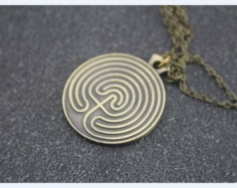 antique bronze Labyrinth necklace Pans Labyrinth inspired Ofelia jewelry