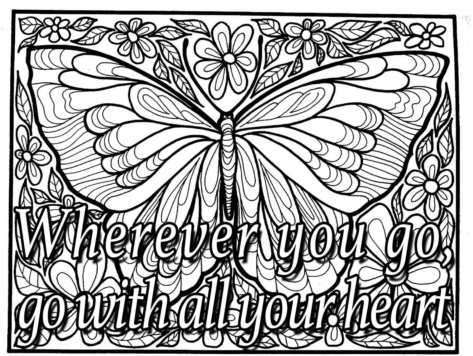 Quote wherever you go - Quotes Coloring Pages for Adults ...