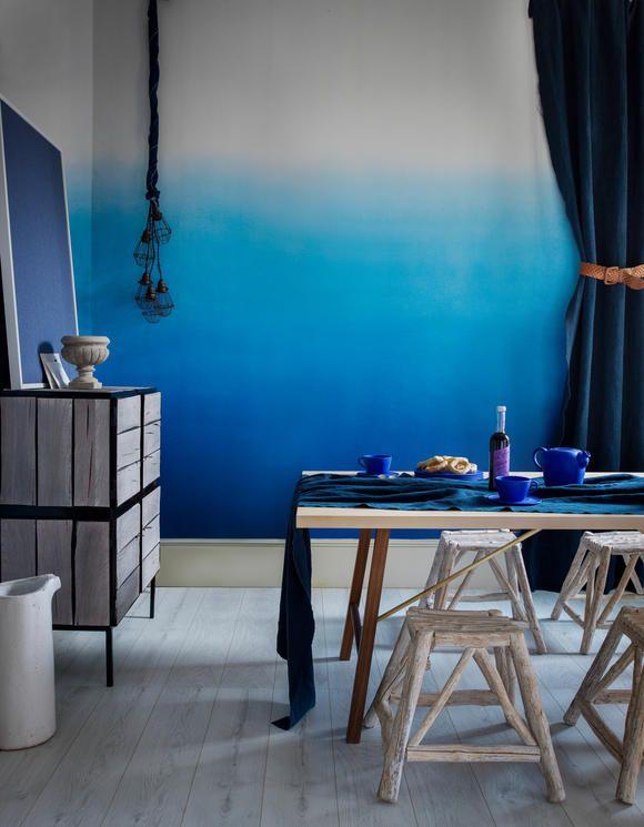 Wandgestaltung mit blauem Farbverlauf Interesting Interieurs - wandgestaltung mit drei farben