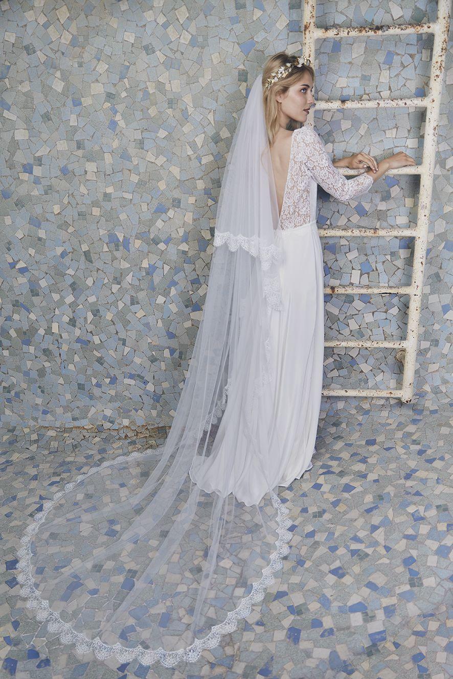 Robe Deauville en crepe de soie et dentelle