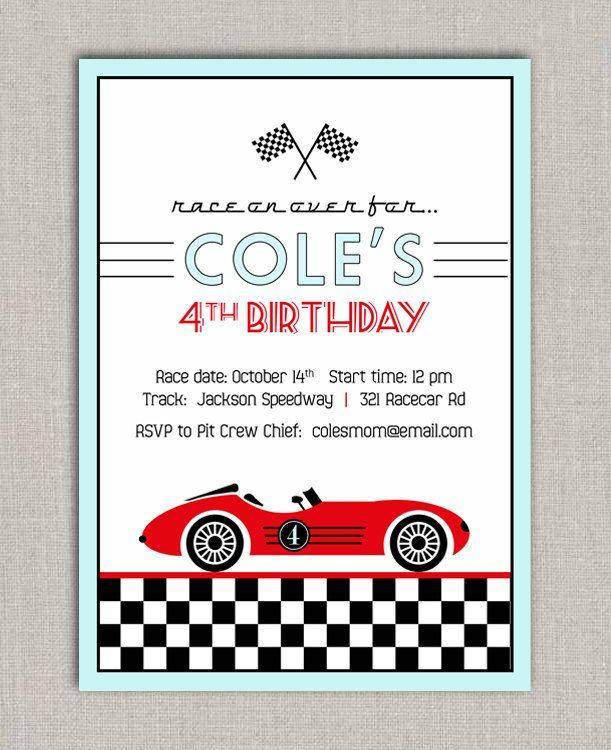 race car birthday invitation | 4th birthday ideas | pinterest, Birthday invitations