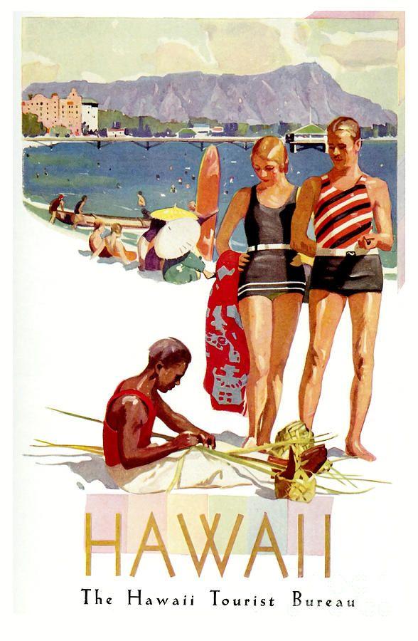 Hawaii Vintage Travel Poster Vintage Beach Posters Vintage Travel Posters Travel Posters