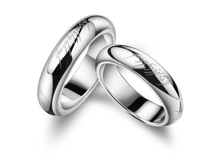 "2 pcs set"" Couple Ring 18k White Gold Plated Men s & Women s 2"
