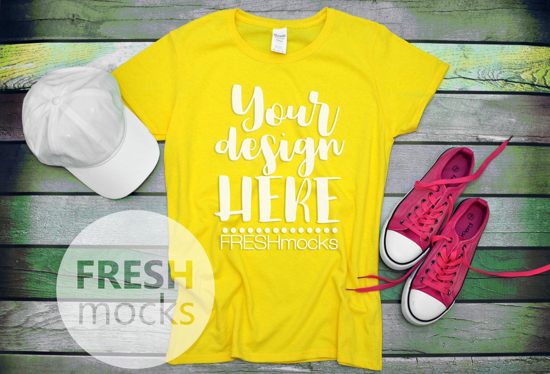 Gildan G500l Ladies Tshirt T Shirt Tee Mockup Daisy Yellow Etsy T Shirts For Women Wood Background Tee Shirts