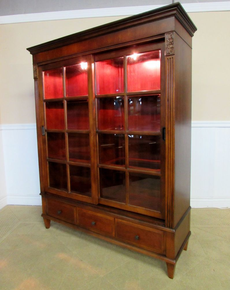 ETHAN ALLEN ASHTON CURIO CABINET, CHINA CLOSET, ORIGINALLY $2499, 30 9018 # ETHANALLEN