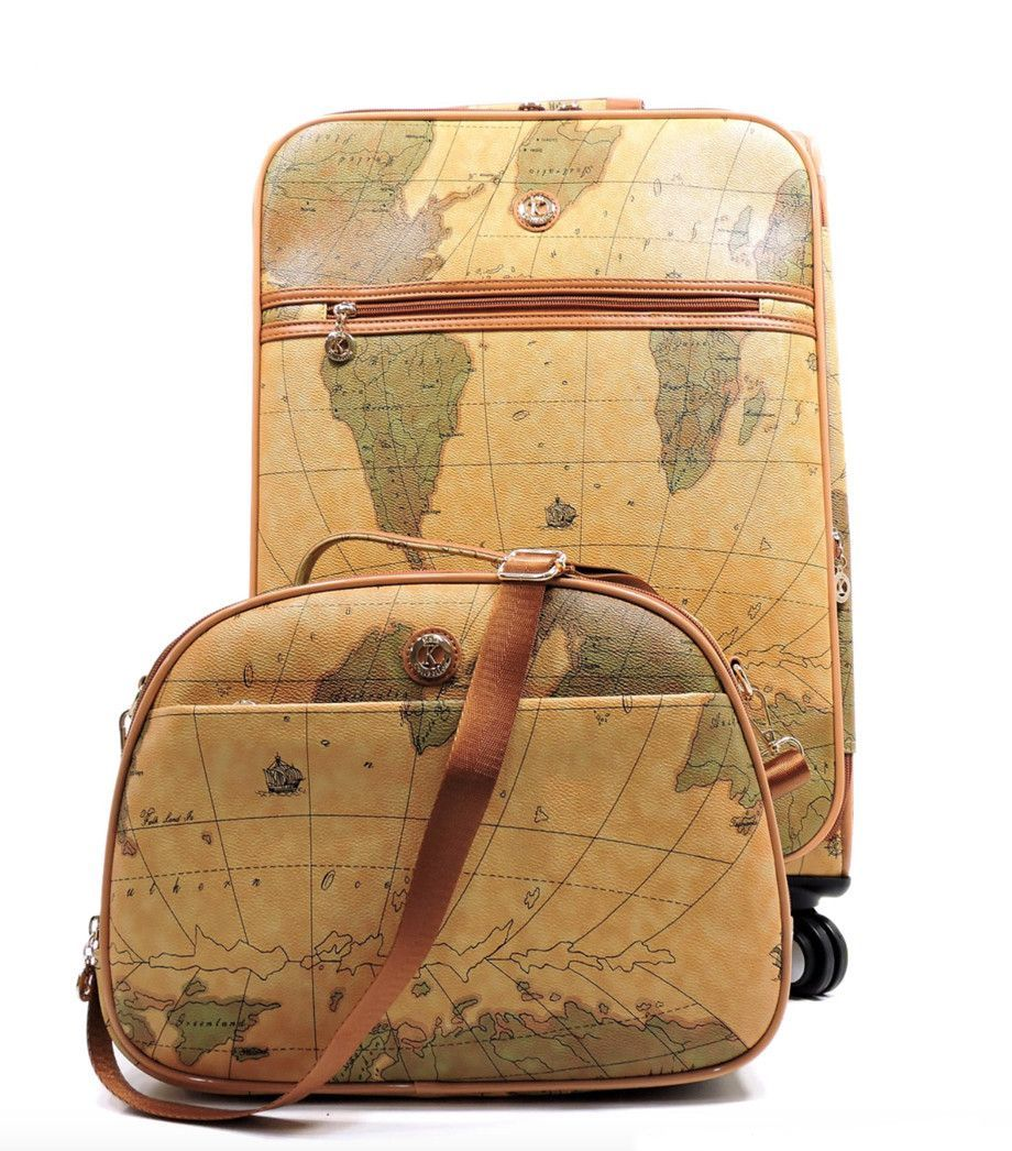 Vintage Style World Map Rolling Luggage Set   Products   Pinterest