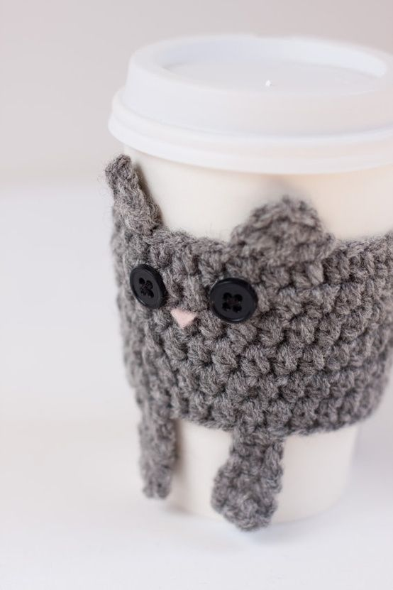 Cat crochet cup cozy (I think I can adapt this cat to look like a ...