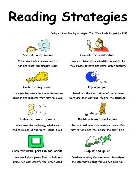 Printable Reading Strategies And Comprehension Worksheets - K-12 Reading  Strategies, Reading Connections, Reading Intervention