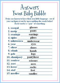 Twins Baby Shower Game Ideas Okay You Got The Answers Too Baby