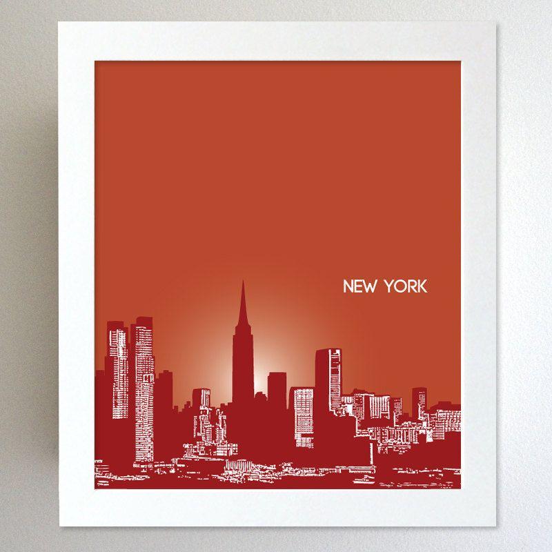 Skyline city art new york skyline home office art poster print any city available
