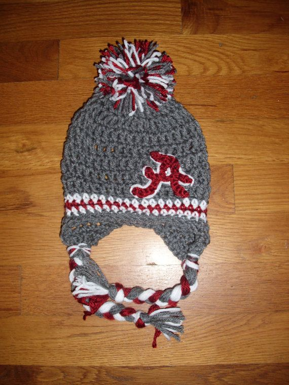 1ebeeb435e7 Crochet PATTERN for this Alabama Crimson Tide Beanie. INSTANT DOWNLOAD on  Etsy