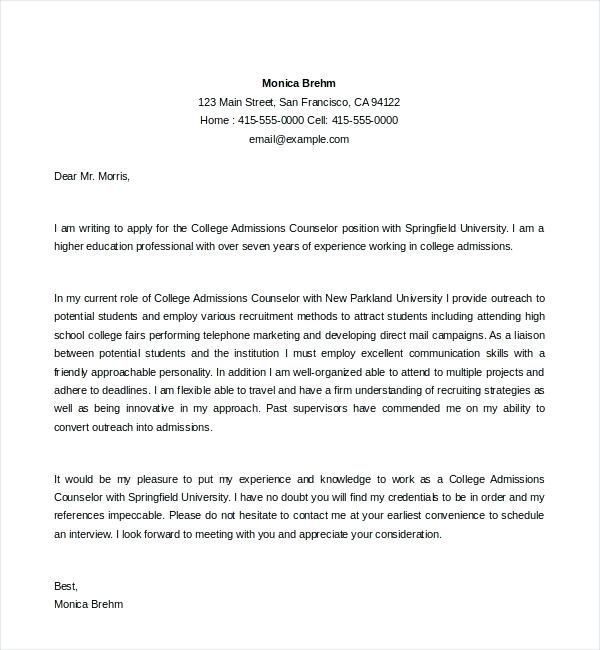 Resume Cover Letter Ideas College Admissions Counselor Cover