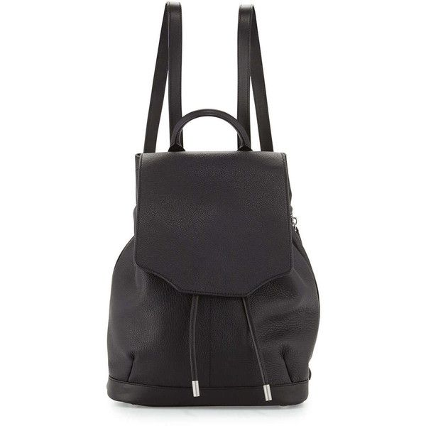 Rag & Bone Pilot Leather Flap-Top Backpack (£595) ❤ liked on Polyvore featuring bags, backpacks, black, leather knapsack, drawstring bag, leather daypack, real leather backpack and leather drawstring backpack