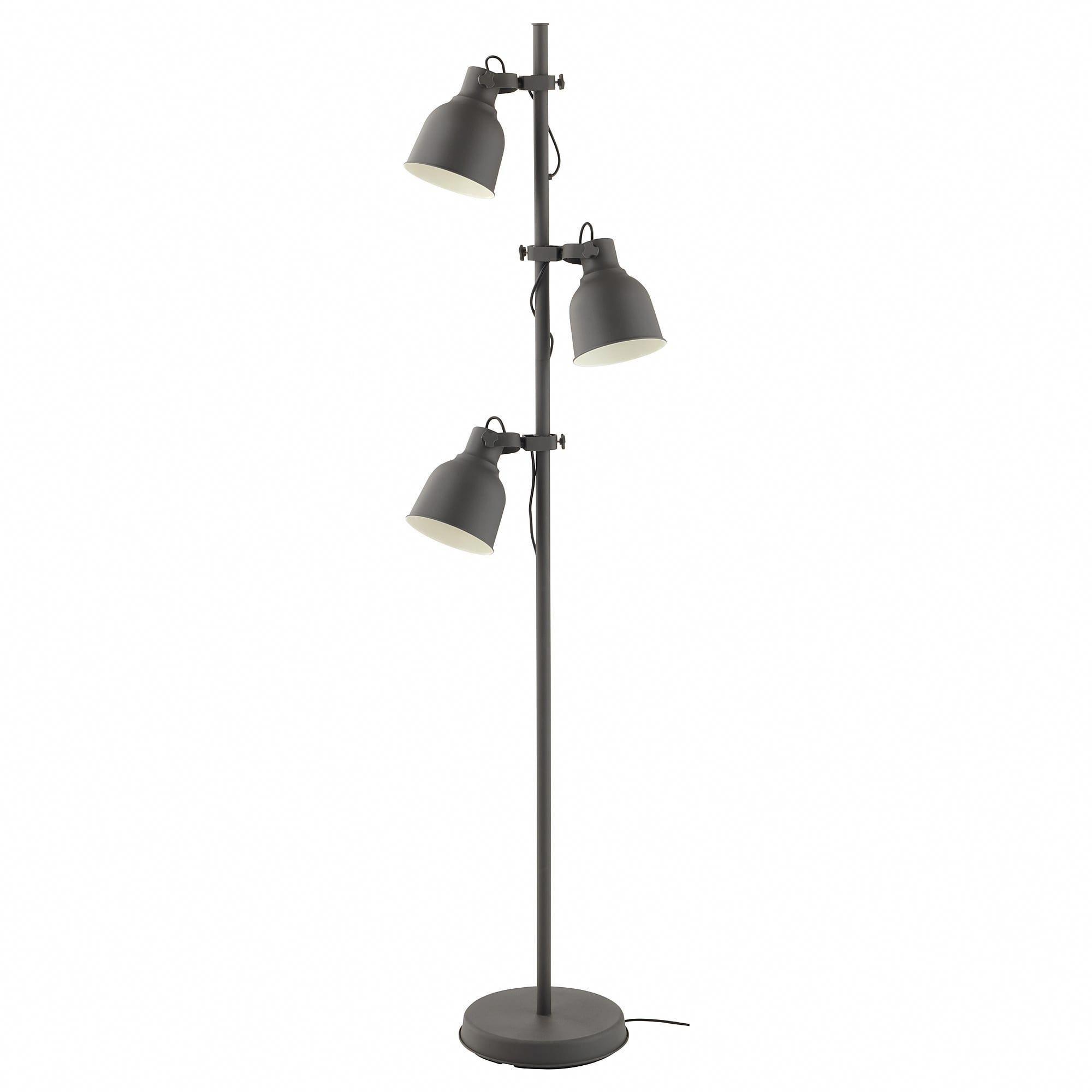 Ikea Hektar Dark Gray Floor Lamp W 3 Spots And Led Bulbs Hanginglamps Lamp Bedroom Lamps Floor Lamp