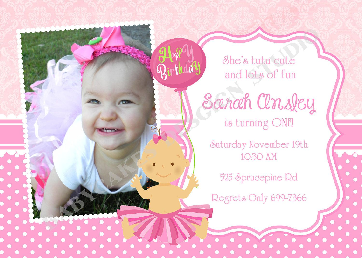 St Birthday Invitation Photo Tutu Princess DIY Print Your Own - Baby girl first birthday invitation ideas