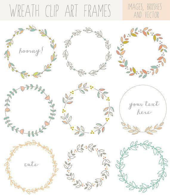 Corona de Laurel dibujado a mano Clip Art imágenes, Vector y Photoshop pinceles