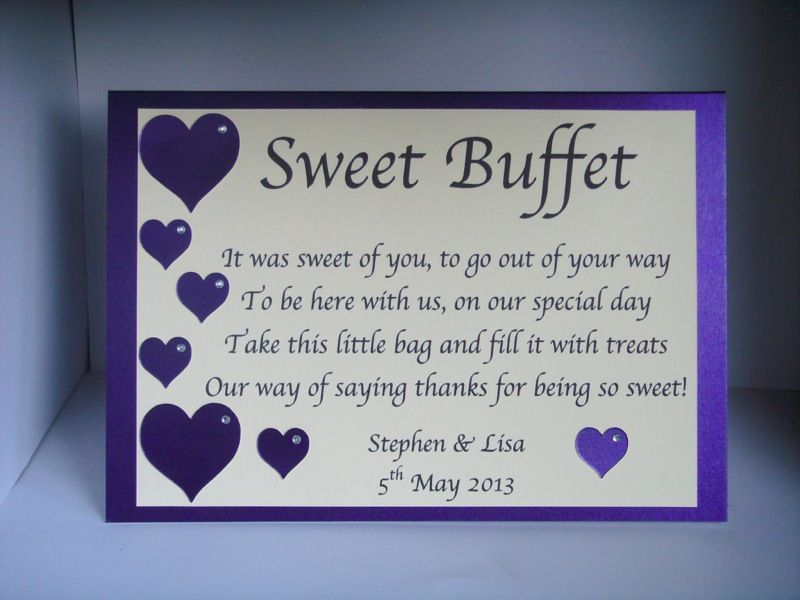 Personalised Sweet Sweetie Candy Bar Buffet Table Sign Hearts Diamante